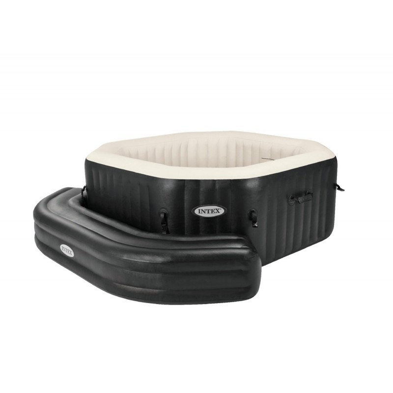 Zwart intex hoek bankje pure jet spa bubble therapy octagon whirlpool bubbelbad jacuzzi - Zwembad entourage ...